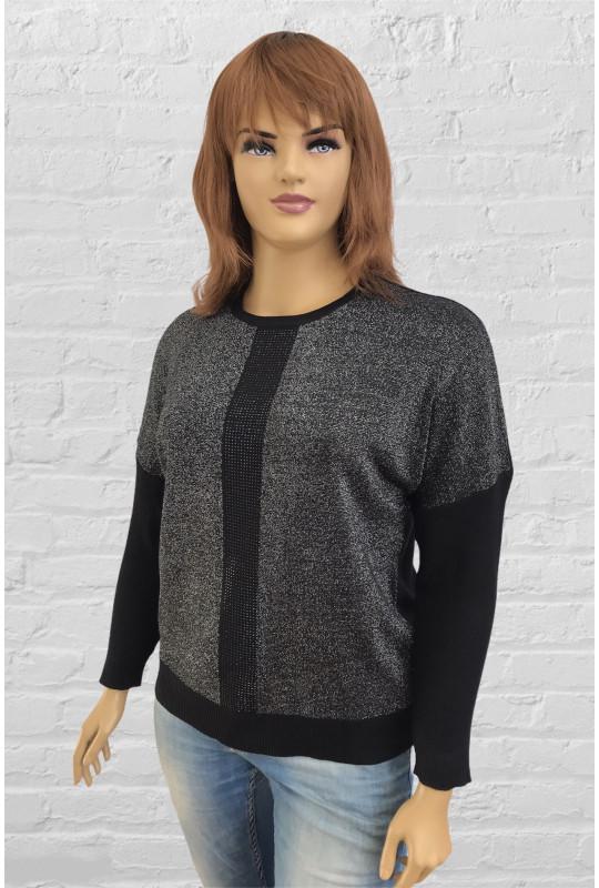 Нарядный женский свитер с планкой из страз