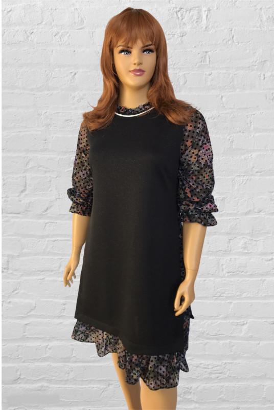 Черное стильное  платье с длинным шифоновым рукавом