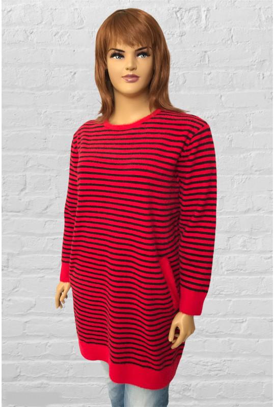 Зимнее тёплое платье-туника в полоску