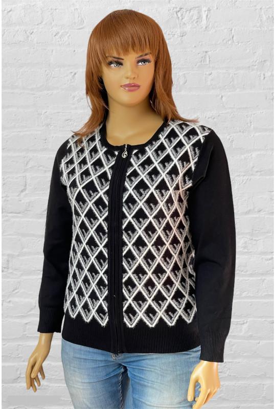 Женская теплая кофта с узором из альпаки «Ромбики»