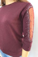 Нарядный джемпер с люрексом и сеткой на рукавах, опт