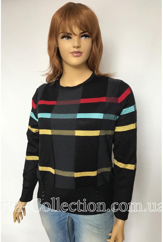 Стильный женский джемпер в цветную полоску