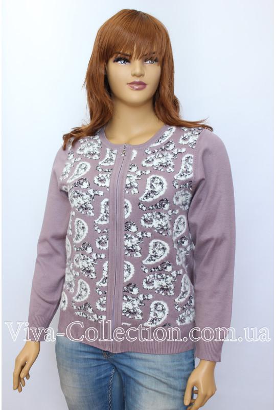 Женская кофта с узором из альпаки