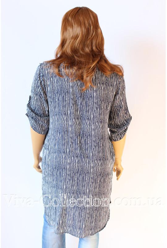 Модная длинная женская рубашка в полоску