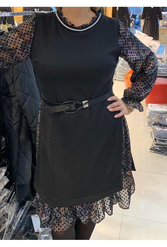 Черное стильное, деловое платье с длинным шифоновым рукавом