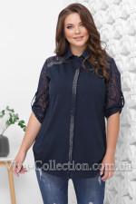 Женская котоновая  рубашка с гипюровым рукавом и стразами