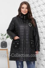 Черная демисезонная курточка с замшевыми карманами