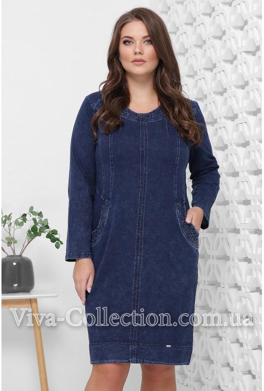 Женское платье из джинсового трикотажа