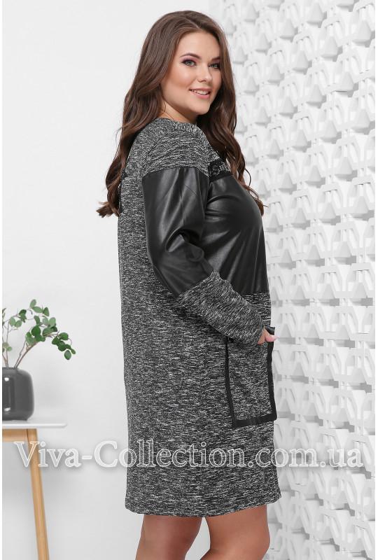 Модное платье из меланжевой ткани и экокожи