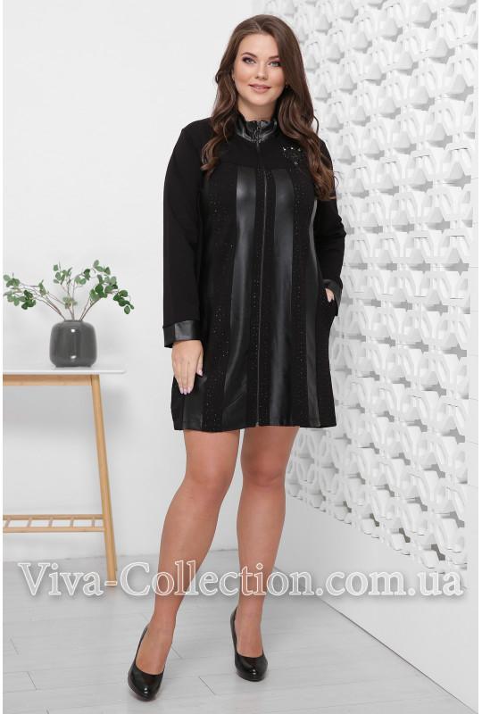Нарядное черное платье со вставками из экокожи