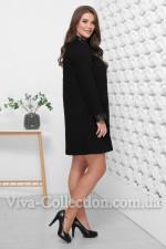 Турецкое стильное платье с вставками с экокожи