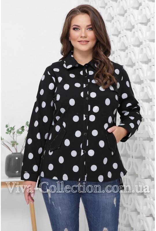 Женская рубашка в горошек