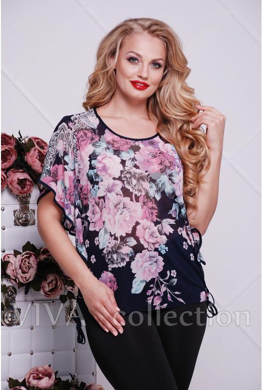 Женская блуза из сетки в больших размерах