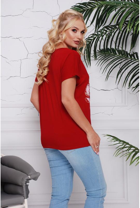 """Женская футболка с аппликацией цветов """"3D"""""""