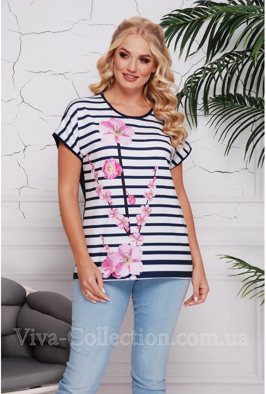 """Женская футболка в полоску """"Орхидея"""""""