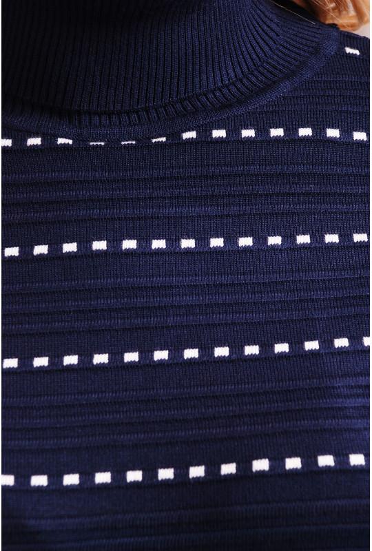 Темно-синий гольф в пунктирную полоску