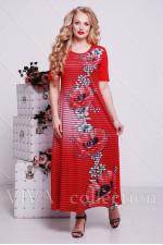 Женское платье в пол с маками