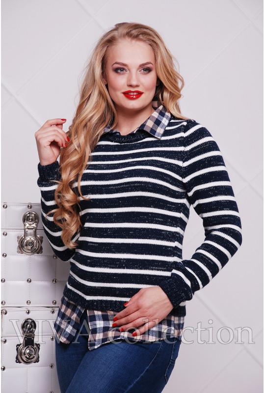 Женский джемпер с имитацией рубашки